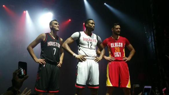 image: Pictured L-R: Sam Dekker, Dwight Howard and Donatas Motiejunas stand and model the Houston Rockets' three new alternate jerseys. Photo courtesy of @00rocketgirl on Twitter.