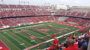 """PHOTO: UH Cougar Marching Band performs Bruce Springsteen's """"Born In The U.S.A."""" during halftime of UH vs. Navy. Photo by The Signal Assistant Editor Raj Sheth."""